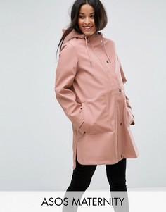 Дождевик с подкладкой из искусственного меха ASOS MATERNITY Premium - Розовый