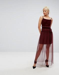 Полупрозрачное платье макси с кружевом Tresophie - Красный