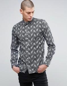 Рубашка с принтом в елочку Minimum - Темно-синий