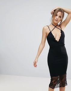 Черное платье миди с кружевной отделкой Missguided - Черный
