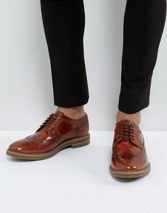 Светло-коричневые блестящие кожаные броги Base London Turner - Рыжий