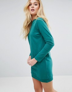 Свободное трикотажное платье с декоративными строчками на рукавах ASOS - Зеленый