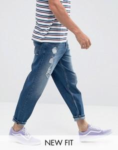 Темно-синие джинсы с потертостями ASOS - Синий