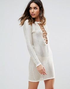 Ажурное платье с эффектом металлик и шнуровкой WOW Couture - Белый