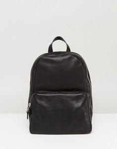 Черный маленький кожаный рюкзак Vagabond - Черный