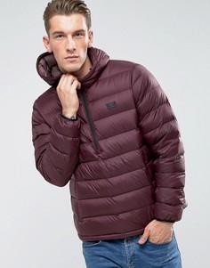 Бордовая пуховая куртка с капюшоном Abercrombie & Fitch - Красный
