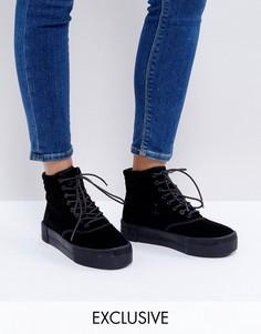 Бархатные ботинки на платформе Monki - Черный