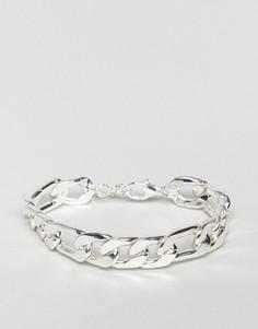 Серебристый толстый браслет-цепочка ASOS - Серебряный