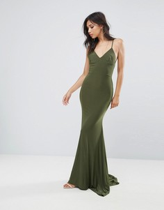 Платье макси с ремешками на спине и годе Club L - Зеленый