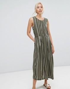 Платье в полоску Selected - Зеленый