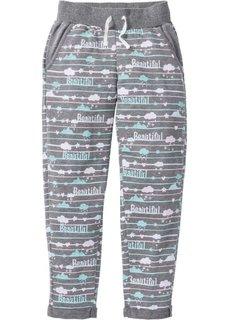 Трикотажные брюки длиной 7/8 (серый меланж с рисунком) Bonprix