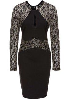 Платье с блестящими кружевными вставками (черный) Bonprix