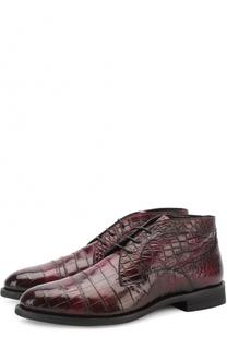 Ботинки из кожи крокодила с внутренней меховой отделкой Barrett