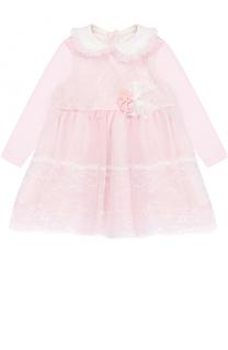 Хлопковое платье с кружевной отделкой и декором Aletta