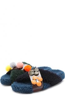 Шлепанцы из овчины с цветочной аппликацией Fendi