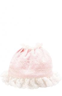 Хлопковая шапка с кружевной отделкой и оборками Aletta