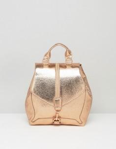 Рюкзак цвета розового золота с эффектом металлик и молнией спереди Skinnydip - Золотой