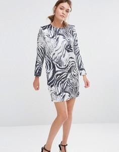 Цельнокройное платье с принтом зебры See U Soon - Черный