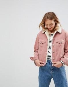 Выбеленная розовая вельветовая куртка с воротником из искусственного меха ASOS - Розовый