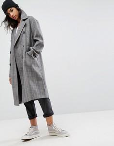 Пальто в клетку ASOS - Коричневый