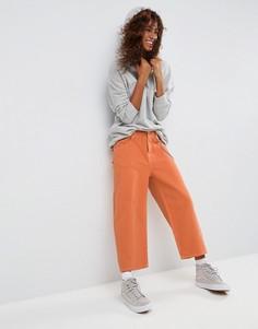 Оранжевые укороченные джинсы с контрастной строчкой ASOS - Оранжевый
