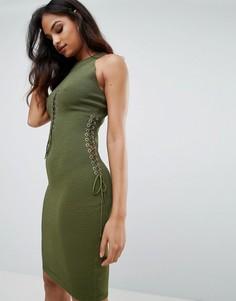 Платье с вырезами Forever Unique - Зеленый