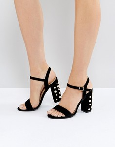 Черные замшевые босоножки на каблуке с отделкой искусственным жемчугом Public Desire Fairview - Черный