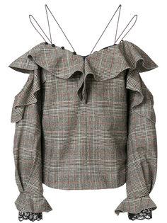 твидовая блузка с открытыми плечами  Self-Portrait