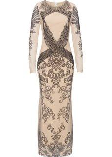 Платье со стразами (натуральный/черный с рисунком) Bonprix