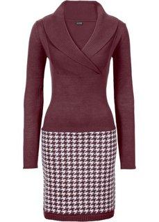 Вязаное платье (темно-бордовый/кремовый) Bonprix