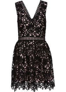 Платье с кружевной отделкой (черный/розовый) Bonprix