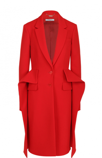 Шерстяное пальто прямого кроя с оборками Givenchy