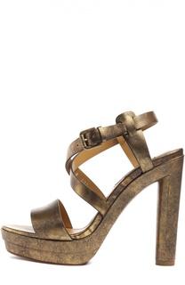 Кожаные босоножки Georgeanna на устойчивом каблуке Ralph Lauren