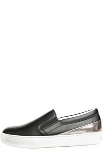 Кожаные слипоны Sportivo с вставкой металлизированной кожи Tod's