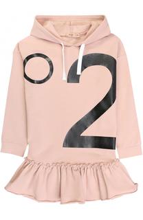 Мини-платье из эластичного хлопка с принтом и капюшоном No. 21