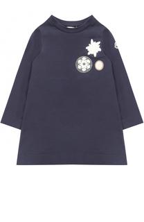 Хлопковое мини-платье А-силуэта с нашивками Moncler Enfant