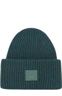 Шерстяная шапка фактурной вязки с нашивкой на отвороте Acne Studios