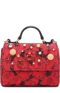 Сумка с текстильной отделкой и декором Dolce & Gabbana