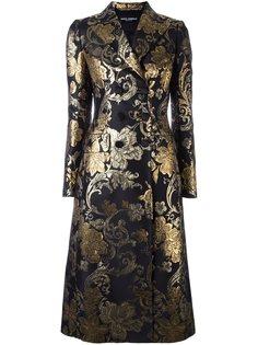 парчовое пальто с цветочным рисунком Dolce & Gabbana