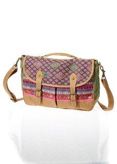 Яркая сумка на ремне через плечо (коричневый/красный) Bonprix