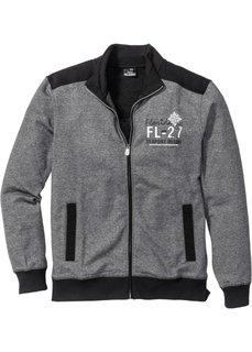 Трикотажная куртка Regular Fit (черный меланж) Bonprix