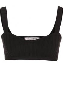 Шерстяной кроп-топ фактурной вязки Valentino