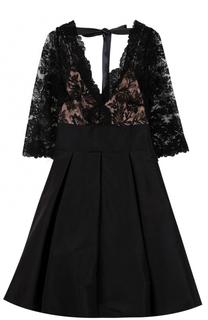 Шелковое мини-платье с кружевным лифом Oscar de la Renta