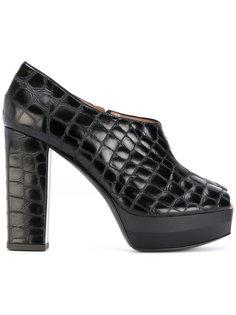 туфли с открытым носком с  эффектом крокодиловой кожи Pollini