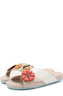 Кожаные шлепанцы с цветочной аппликацией Fendi
