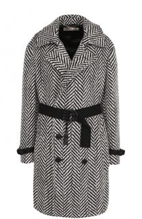 Шерстяное пальто с контрастным поясом Saint Laurent