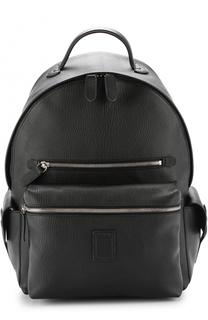 Кожаный рюкзак с внешними карманами на молнии Bertoni
