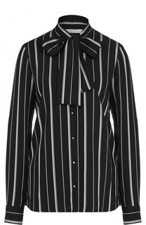 Шелковая блуза в полоску с воротником аскот BOSS