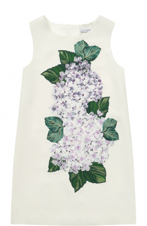 Мини-платье А-силуэта с цветочной аппликацией Dolce & Gabbana