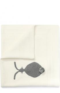Хлопковое одеяло с вышивкой и помпонами Stella McCartney
